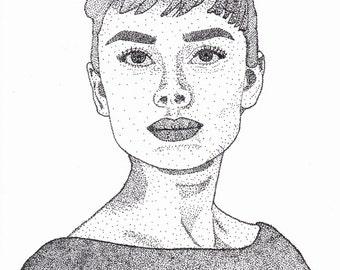 Print of Audrey Hepburn made by pointillism