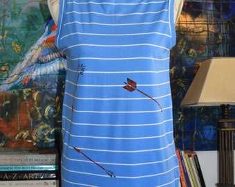 INTRODUCTORY PRICE Organic Cotton, Blue & White Striped Shift Dress with Hand Printed Arrows.