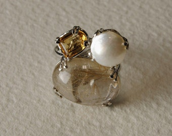 Mabè Pearl ring, citrine, rutilated quartz and Silver 925%