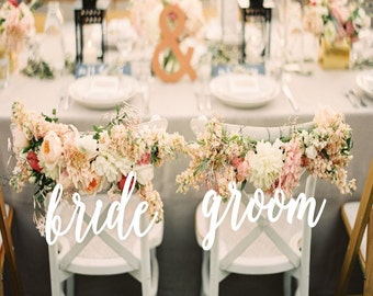 Wedding Decor.Bride and Groom  Chair Signs.