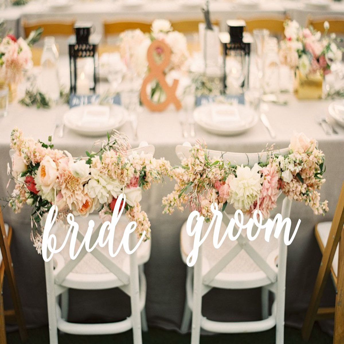 Wedding decor bride and groom chair signs - Decoration table communion fille ...