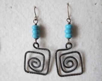 Maze ... handcrafted copper earrings
