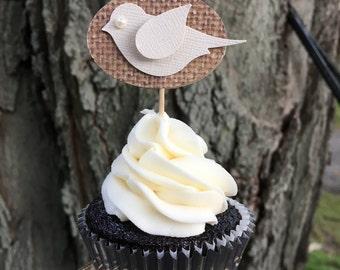 Bird & Burlap Cupcake Toppers - Wedding Cupcake Toppers - Love Bird - Rustic Wedding (12 qty)