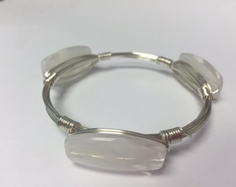 Wire Wrapped Beaded Bracelet--White