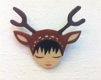 Deer Girl Brooch