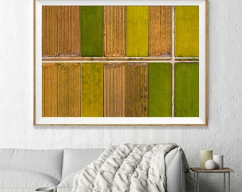 Patchwork Fields Abstract Aerial Photography, Large Wall Art Decor, Colour Fine Art Photography, Art Prints, Texture, Orange, Yellow, Green