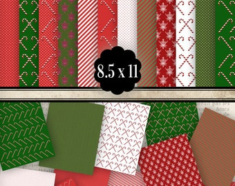 Christmas Paper Pack printable paper crafting scrapbooking background 8.5 x 11 inch instant download digital collage sheet - VDPACH0987