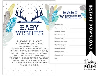 Deer Baby Wishes / Boho Baby Wishes / Tribal Baby Wishes / Feather Baby Wishes / Arrow Baby Wishes / Bohemian Baby Wishes