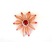 vintage pink enamel flower brooch . jelly belly flower brooch pin signed B.E.D. . BED flower brooch