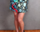 READY TO SHIP Green Floral Brocade A-line Wearable Art Skirt with attached 3D Flower