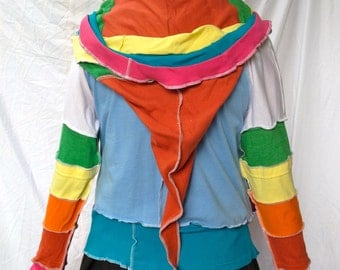 T Shirt Hoodie Katwise-Inspired RAINBOW Lightweight Festival Deadhead Upcycle Fairy Fairie Recycled Hippie Zip Tshirt Jacket OOAK Made2order