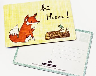 Magnetic FOX POSTCARD, mail art postcards, red fox card, post card, hello cards, long distance friendship gift, letter writing paper