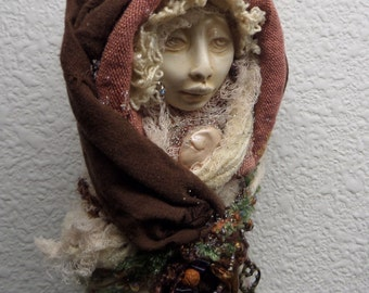 Our Lady of Peace ~ Spirit of Serenity, Santos Art Doll ~ Assemblage Art Figure ~ OOAK Art Doll, Yule tree topper