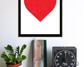 Red Heart Print - Minimalist Screenprint Valentine Silkscreen Graphic Red Heart Modern Wall Art Heart Decor Simple Big Heart Print