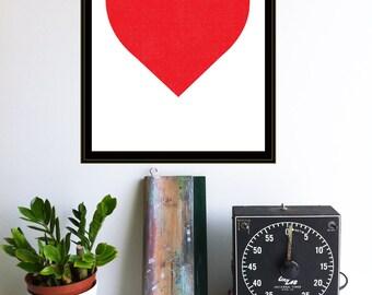 Red Heart Print - Minimalist Screenprint Silkscreen Graphic Red Heart Modern Wall Art Heart Decor Simple Big Heart Print