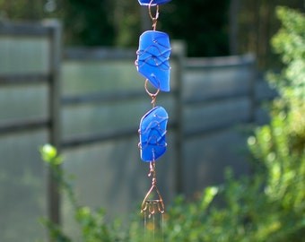 Wind Chime Blue Beach Glass Brass Chimes Suncatcher Windchimes