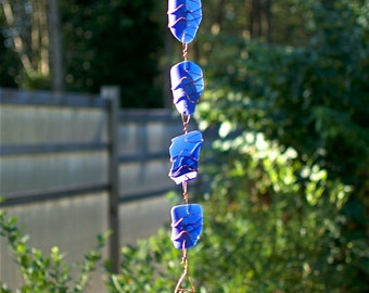 Wind Chime Sun Catcher Cobalt Blue Sea Glass with Brass Chimes, beach glass stained glass windchimes