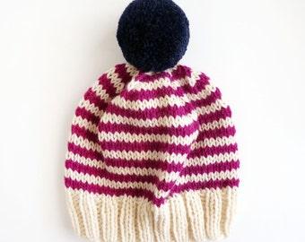 Cream & Magenta Stripe Wool Beanie - READY TO SHIP