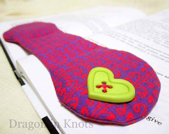 Book Weight - Bright Pink and Purple with Lime Green Button - Heart or Square - modern kawaii page holder