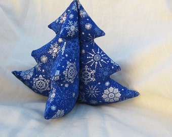 Decorative Fabric Tree - Dark Blue and Silver Snowflakes - Winter Evergreen L - Christmas Tree