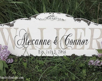 Established Sign | Last Name Sign | FAMILY NAME SIGN | Wedding Sign | Custom Family Sign | Wooden Name Sign | Headboard Sign |Wood Name Sign