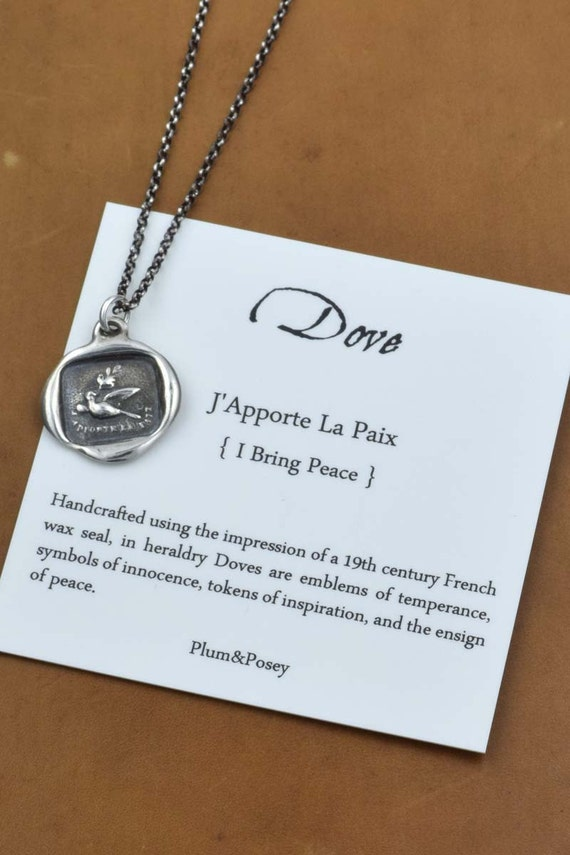 I Bring Peace - Dove pendant from antique french wax seal - 196