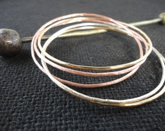 Set of Five Forged Hammered Linked Mixed Metal Bangles Silver Copper Brass