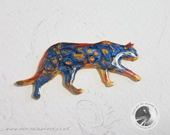 A Multi Coloured Walking Cat Brooch - Blue Orange Red Gold Kitty Pin