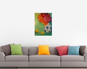 Original  Zinnias painting canvas, blue and white vase, original art, flower painting, floral artwork acrylic painting canvas art 16 x 20