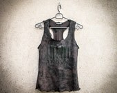 BARCODE - Printed Tank Post Apocalyptic Top Handmade Painted Brown Wasteland Top Grunge Alternative Clothing Dystopian Decay Tee