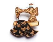 Sewing Machine Brooch- Wood laser cut illustration embroidered hand painted - black blue
