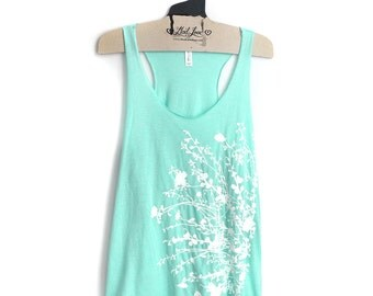 XL- Tri-Blend Mint Racerback Tank with Flowering Branch Screen Print