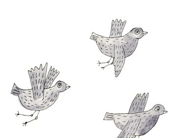 Square Greeting Card: Three Flying Birds
