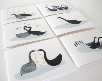 Christmas Card Pack: Swans a swimming [Pack of 6]