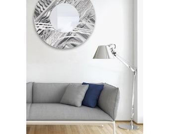 "Extra Large Abstract Silver Wall Mirror, Modern Metal Wall Art Sculpture, Round Contemporary Mirror, 35"" x 35"" - Mirror 101 XL by Jon Allen"