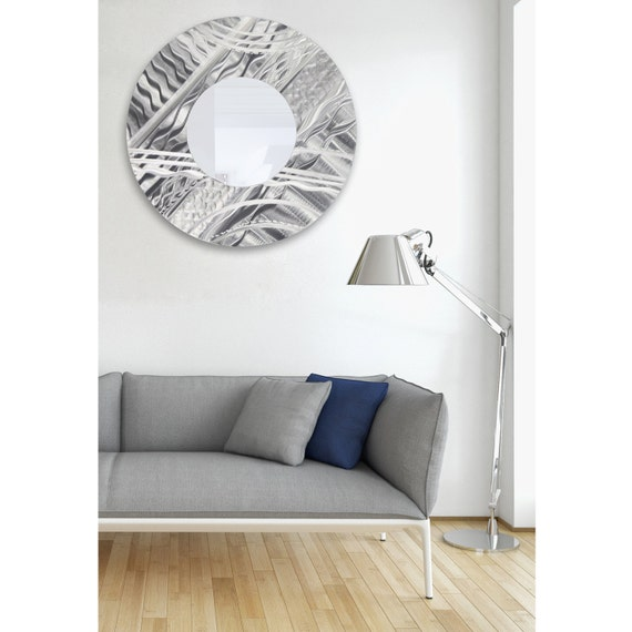 Extra Large Abstract Silver Wall Mirror Modern Metal Wall Art