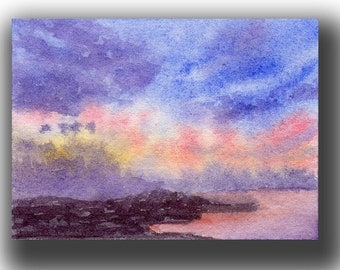ACEO watercolor SUNRISE original painting SFA miniature seascape dollhouse