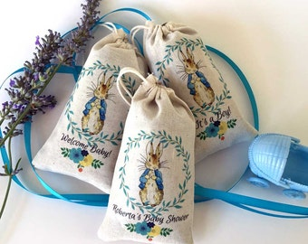 Peter Rabbit Baby Shower LAVENDER SACHET Party Favors   Full Color   DELUXE   Thank You Gift   Baby Shower   One Year Birthday   Set of 12
