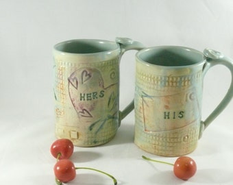 Personalized His and Hers Ceramic Cups -  pottery and ceramics, Couples Mugs - Mr and Mrs Handmade Unique Coffee Mug  pottery mug