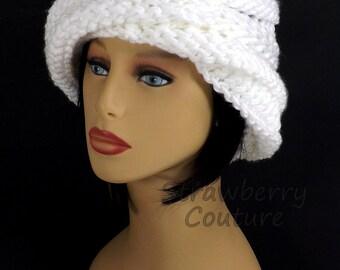 Oversized Knitting Boho Beanie Hat, Boho Hat, Womens Knit Hat, Womens Hat Trendy, White Hat, Knit Hat Women, Ombretta Knitting Beanie Hat