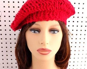 Crochet Hat Womens Hat, Womens Crochet Hat, Summer Hat for Women, Crochet Beanie Hat, ANDREA Beret Hat, Red Hat in Cotton, Crochet Hat