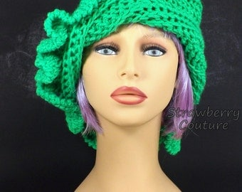 Neon Green Cloche Hat for Women with Ruffle,  Crochet Hat,  Womens Hat Green Hat,  Neon Hat,  Cynthia 1920s Cloche Hat with Ruffle