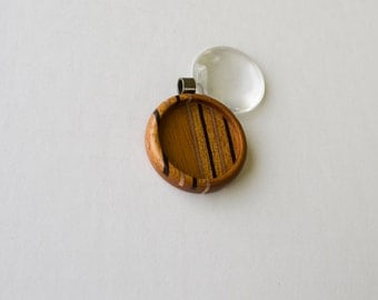 USA artisanal fine marquetry hardwood pendant blank - Mahogany, Walnut and Maple - 30 mm Cavity - Brass Bail (Z303c-X)
