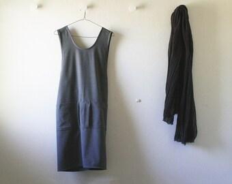 GREY WOOL PINAFORE dress / black / navy / gray wool tunic / wool dress / women / smock / apron / winter / australia / pamelatang