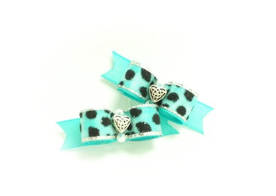 Aqua Dog Bows, Leopard Print Ribbon, Silver Heart Bead, Pet Bows, Small Dog Bow