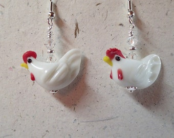 White Chicken Hen Rooster Glass Bead  Earrings with Swarovski and Silver   Now Laugh