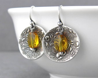 Citrine Earrings Sterling Silver Drop Earrings Yellow Earrings Crystal Jewelry Bohemian Jewelry Holiday Gift for Women - Contrast