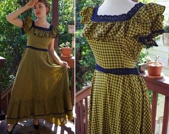 PLAID Vintage Antebellum Revival Yellow + Black Prairie Maxi Dress with Ruffled Bustle // size Small Medium