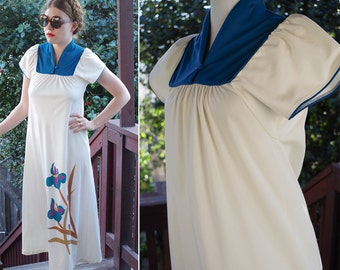 IRIS 1970's Vintage Long Tropical Teal Blue + Cream Dress // Beach Cover Up // by ANDRADE // Size Small