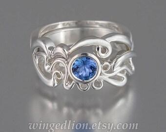 ODELIA 14K gold engagement ring & wedding band set with BlueSapphire Art Nouveau inspired